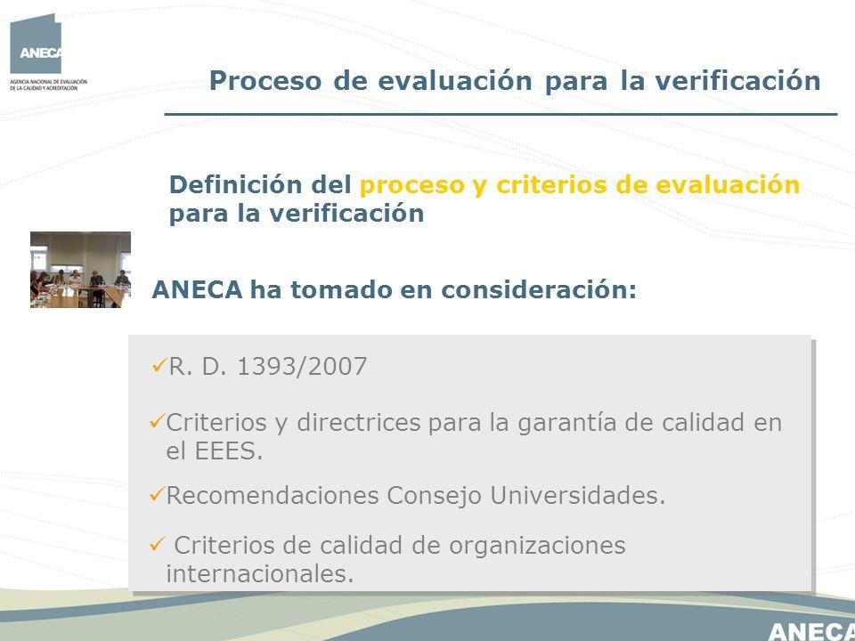 Proceso de evaluación para la verificación