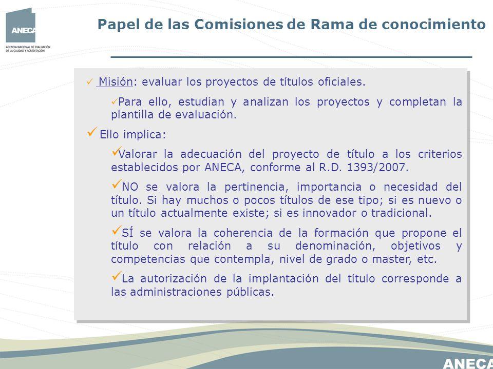 Papel de las Comisiones de Rama de conocimiento