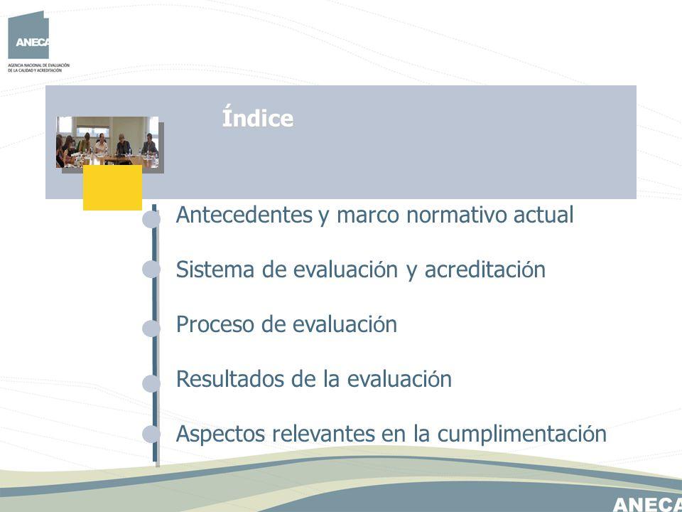 Índice Antecedentes y marco normativo actual. Sistema de evaluación y acreditación. Proceso de evaluación.
