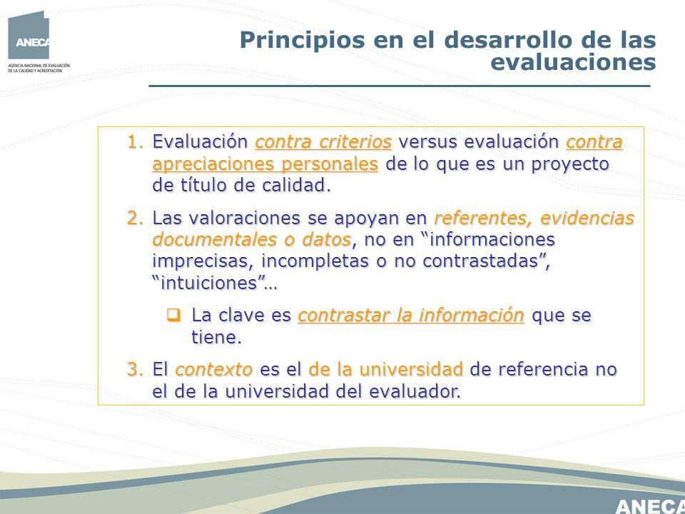 Principios en el desarrollo de las evaluaciones