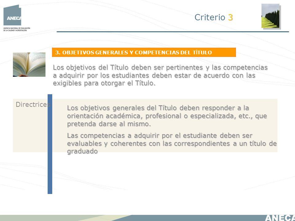 Criterio 33. OBJETIVOS GENERALES Y COMPETENCIAS DEL TÍTULO.