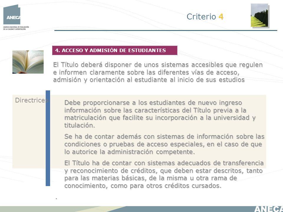 Criterio 44. ACCESO Y ADMISIÓN DE ESTUDIANTES.