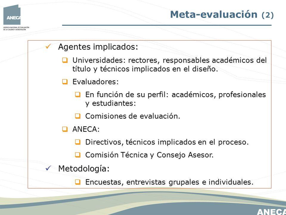 Meta-evaluación (2) Agentes implicados: Metodología: