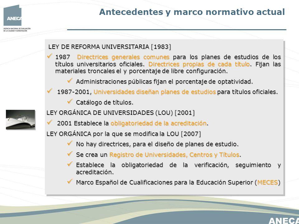 Antecedentes y marco normativo actual