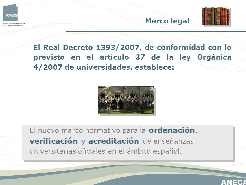 Marco legal El Real Decreto 1393/2007, de conformidad con lo previsto en el artículo 37 de la ley Orgánica 4/2007 de universidades, establece:
