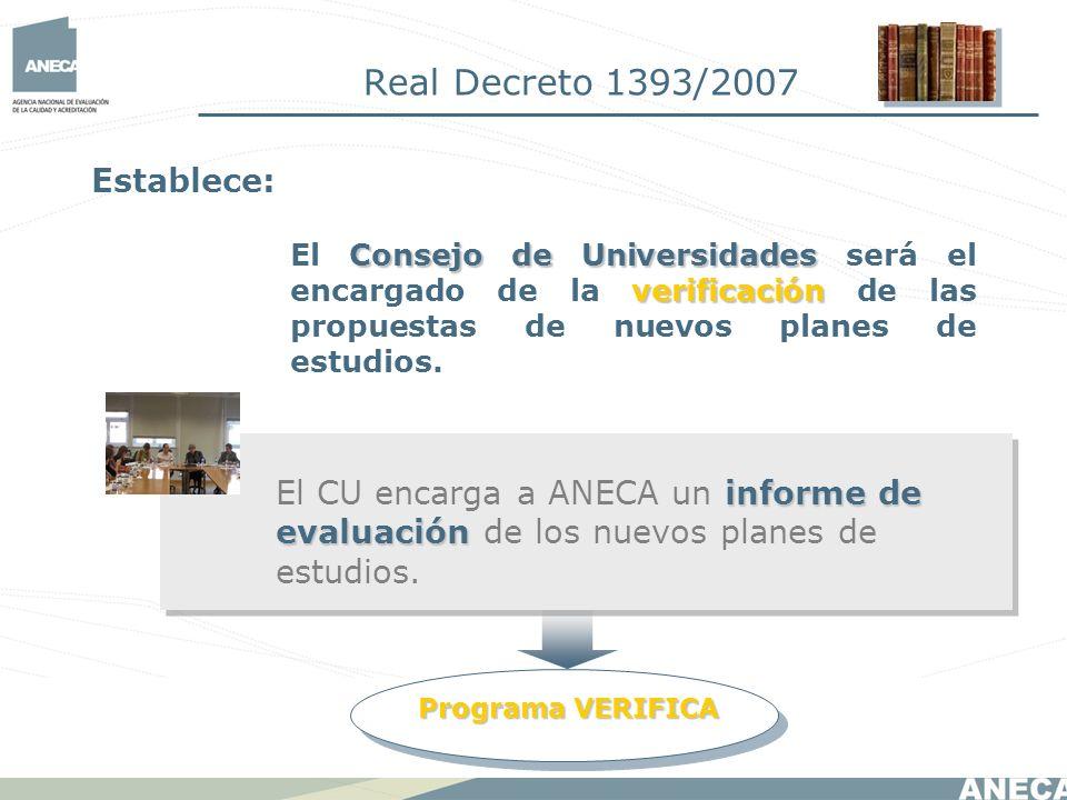 Real Decreto 1393/2007 Establece: