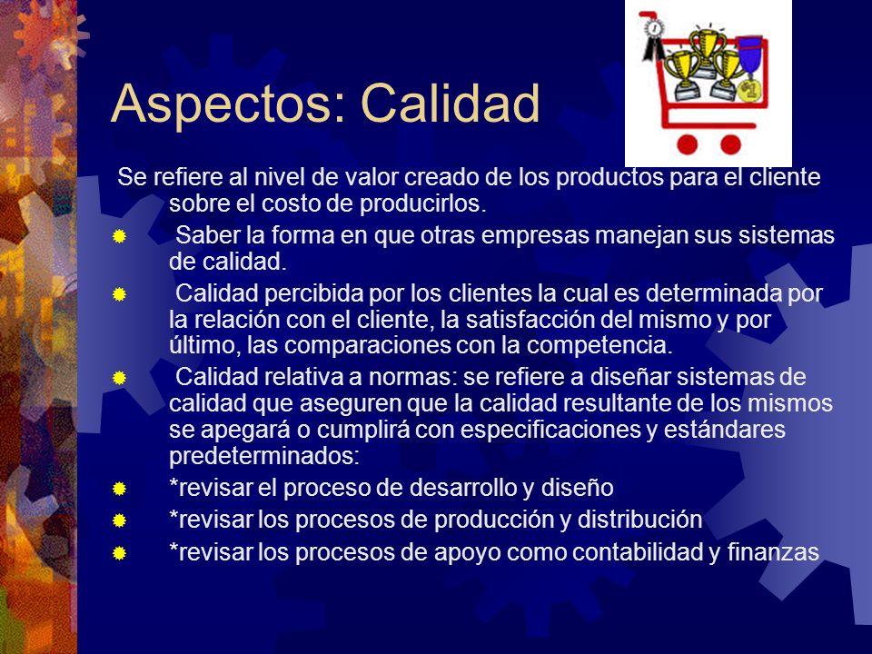 Aspectos: Calidad Se refiere al nivel de valor creado de los productos para el cliente sobre el costo de producirlos.