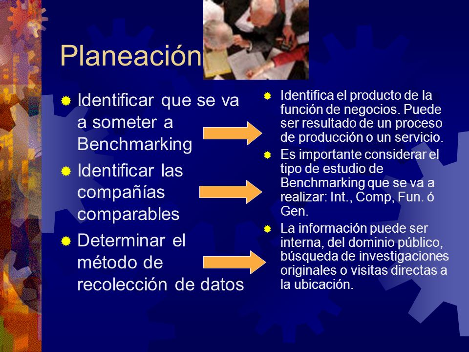 Planeación Identificar que se va a someter a Benchmarking