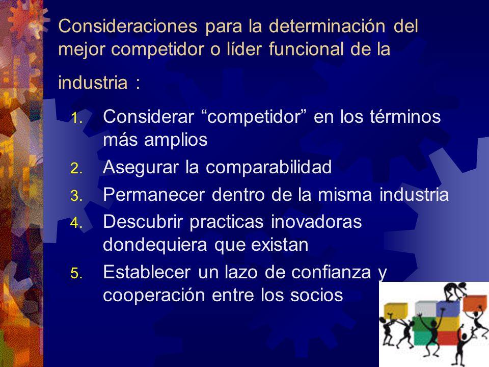 Consideraciones para la determinación del mejor competidor o líder funcional de la industria :