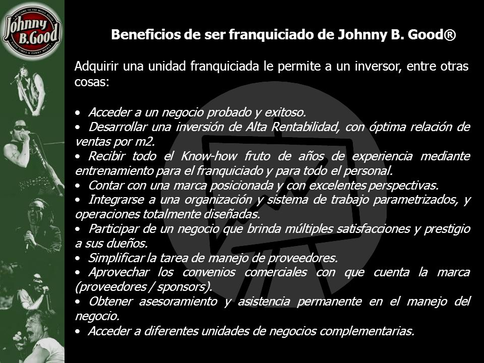 Beneficios de ser franquiciado de Johnny B. Good®