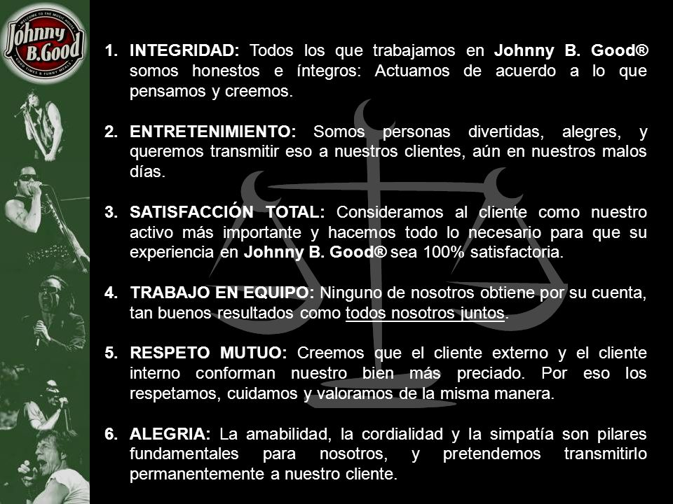 INTEGRIDAD: Todos los que trabajamos en Johnny B