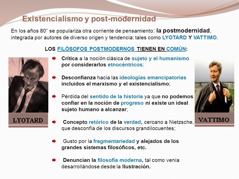 Existencialismo y post-modernidad
