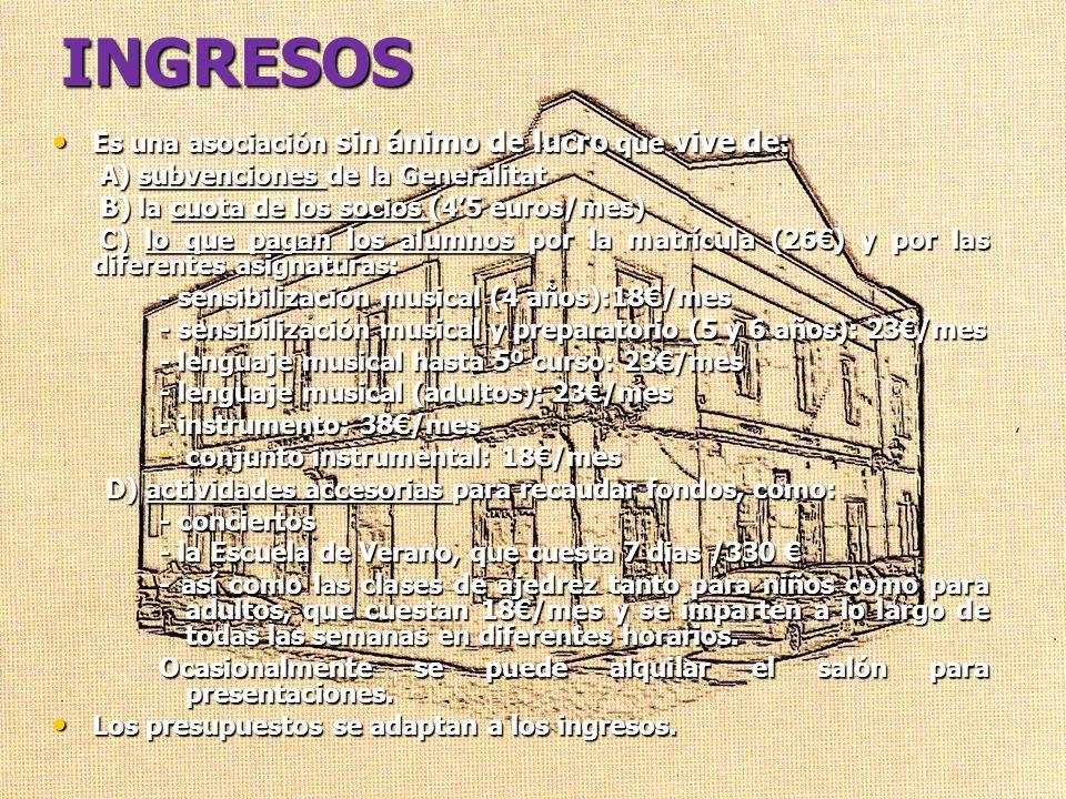 INGRESOS Es una asociación sin ánimo de lucro que vive de: