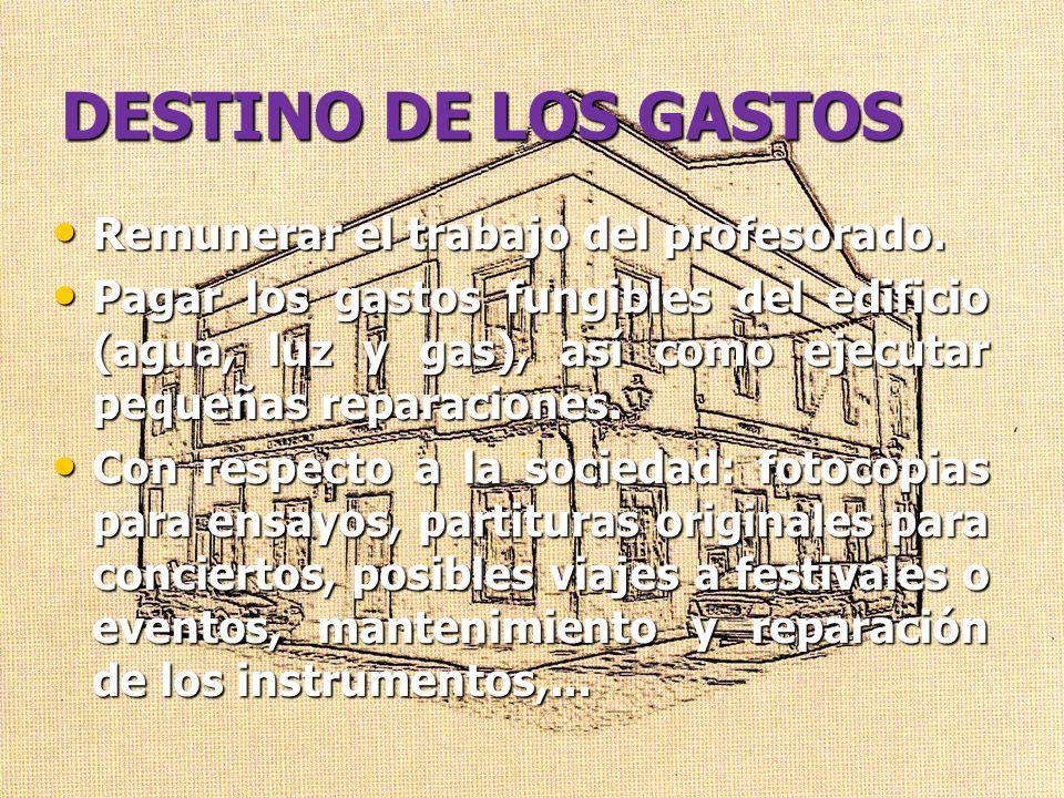 DESTINO DE LOS GASTOS Remunerar el trabajo del profesorado.