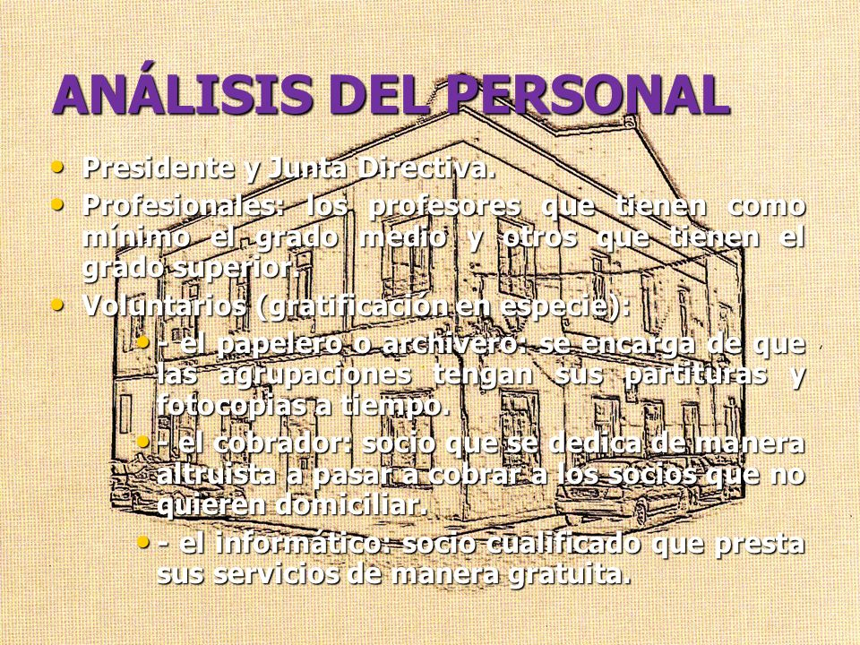 ANÁLISIS DEL PERSONAL Presidente y Junta Directiva.