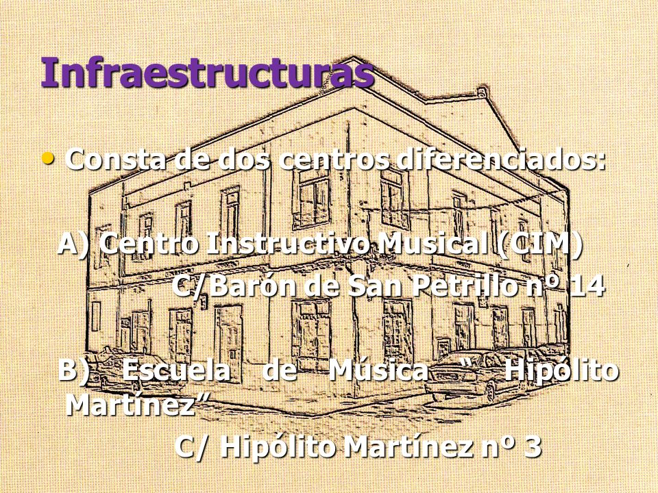 Infraestructuras Consta de dos centros diferenciados: