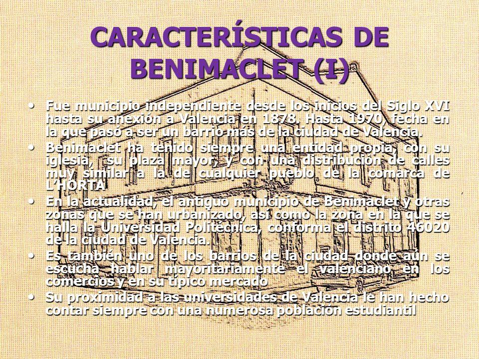 CARACTERÍSTICAS DE BENIMACLET (I)