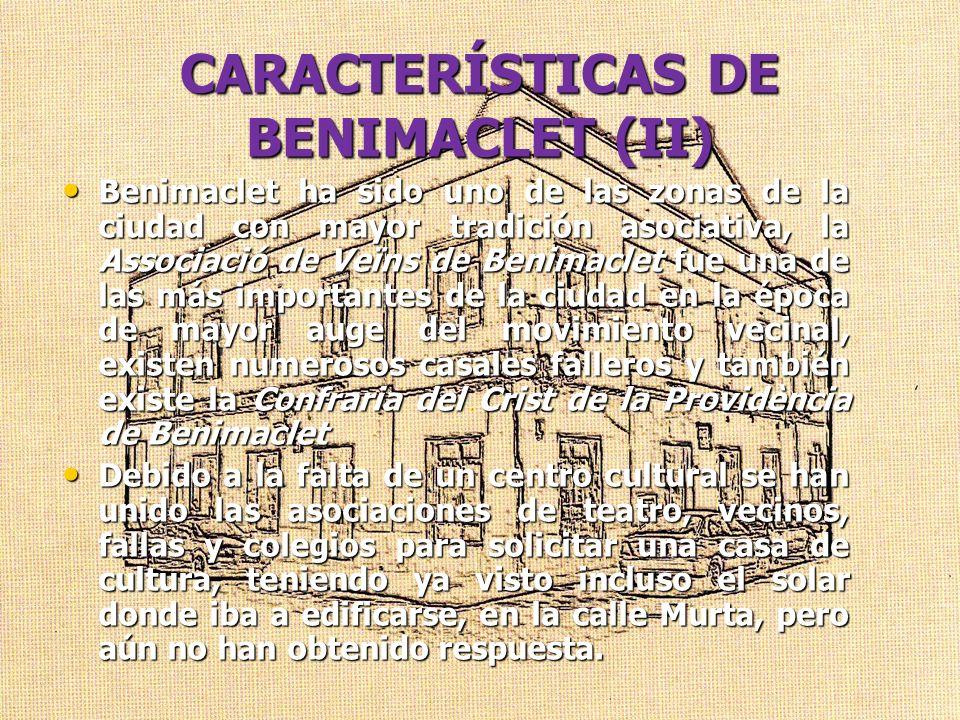 CARACTERÍSTICAS DE BENIMACLET (II)