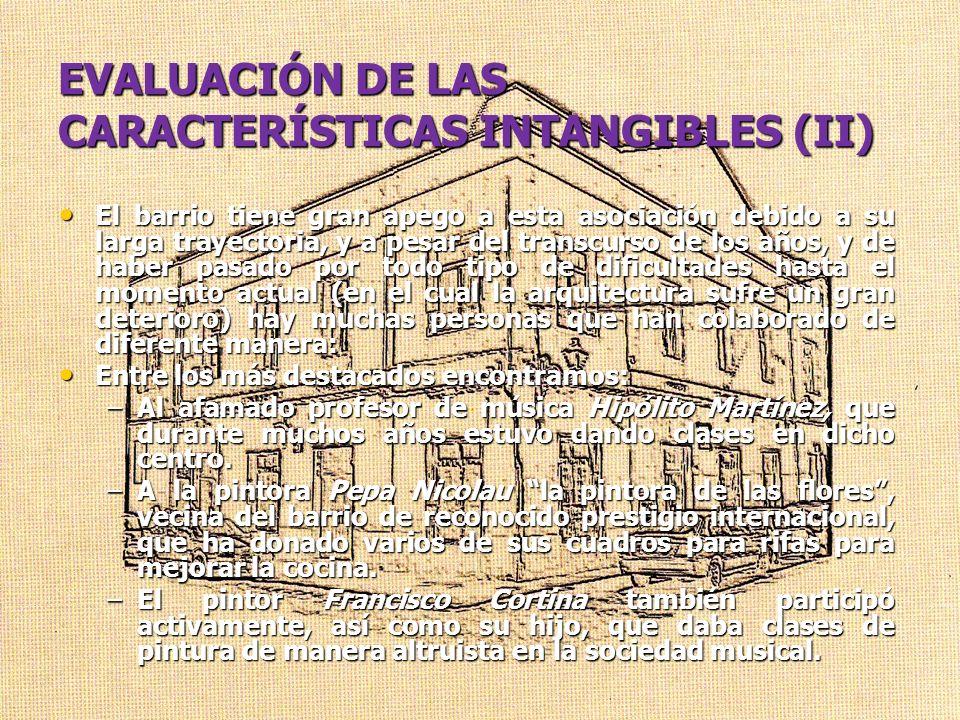 EVALUACIÓN DE LAS CARACTERÍSTICAS INTANGIBLES (II)