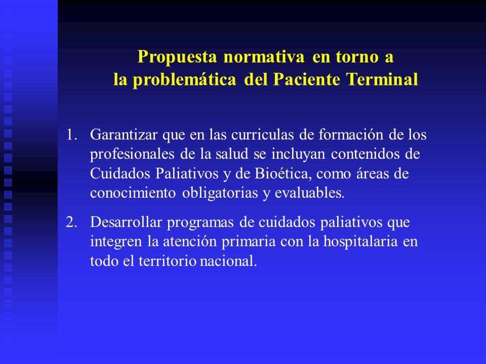 Propuesta normativa en torno a la problemática del Paciente Terminal