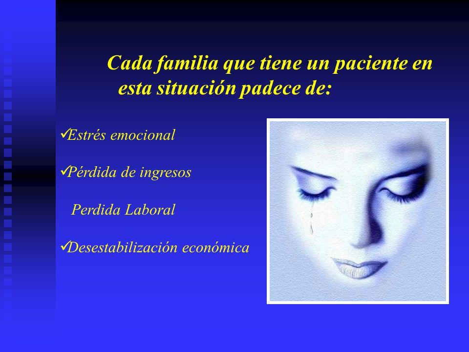 Cada familia que tiene un paciente en esta situación padece de: