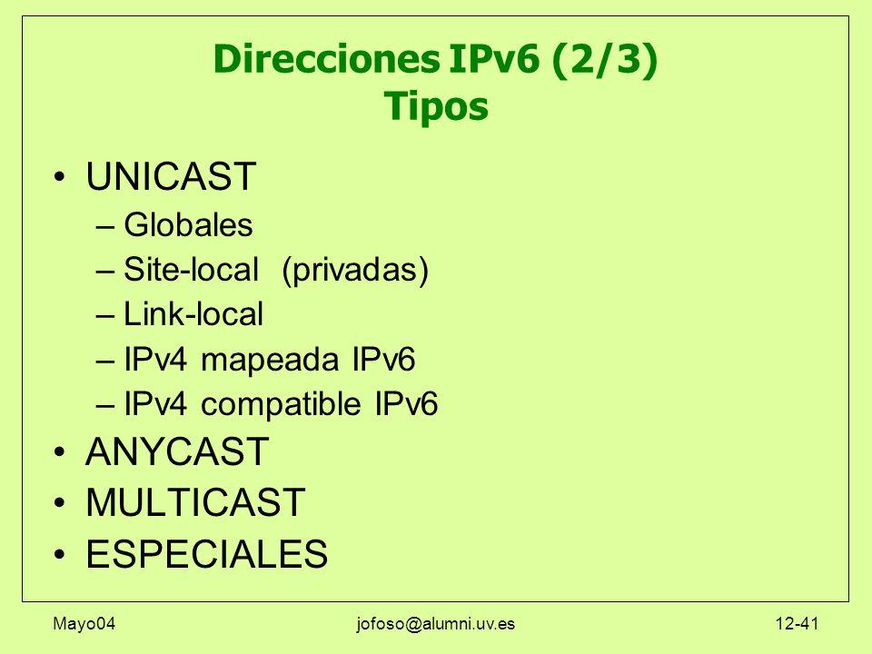 Direcciones IPv6 (2/3) Tipos