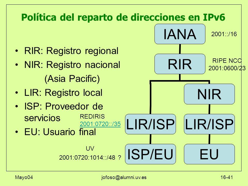 Política del reparto de direcciones en IPv6