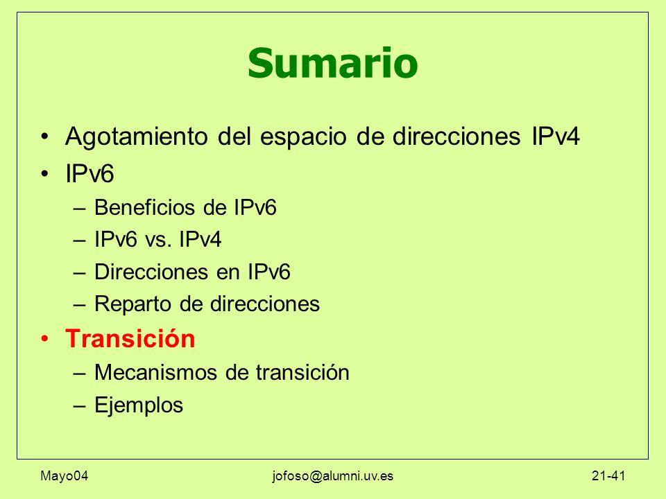 Sumario Agotamiento del espacio de direcciones IPv4 IPv6 Transición