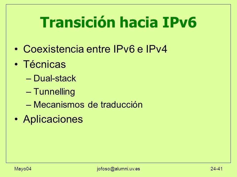 Transición hacia IPv6 Coexistencia entre IPv6 e IPv4 Técnicas