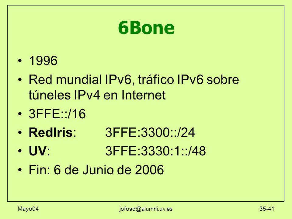 6Bone1996. Red mundial IPv6, tráfico IPv6 sobre túneles IPv4 en Internet. 3FFE::/16. RedIris: 3FFE:3300::/24.