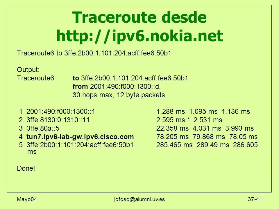 Traceroute desde http://ipv6.nokia.net