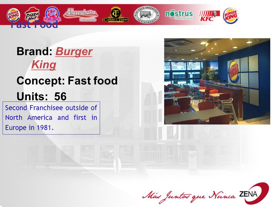 Brand: Burger King Concept: Fast food Units: 56 Fast Food