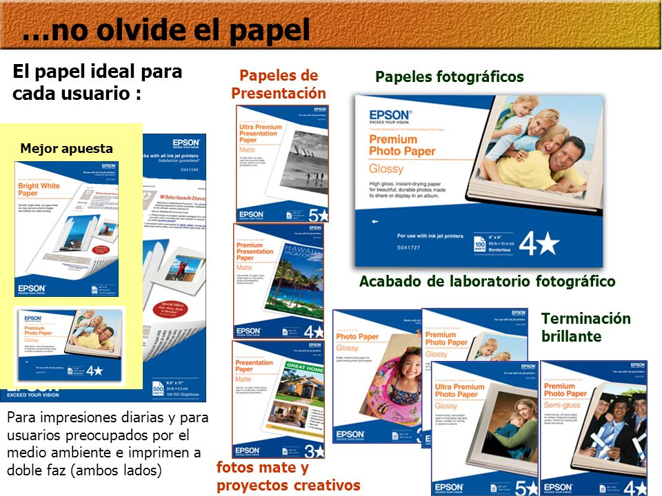 …no olvide el papel El papel ideal para cada usuario : Papeles de