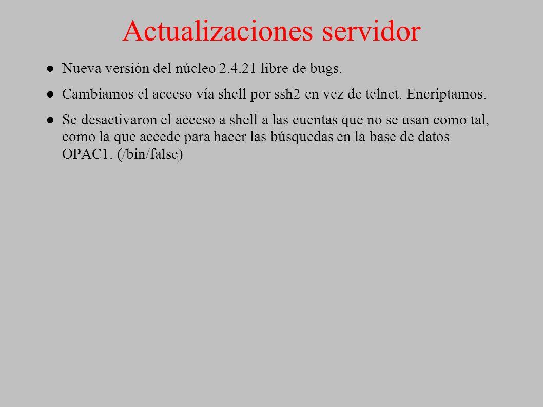 Actualizaciones servidor