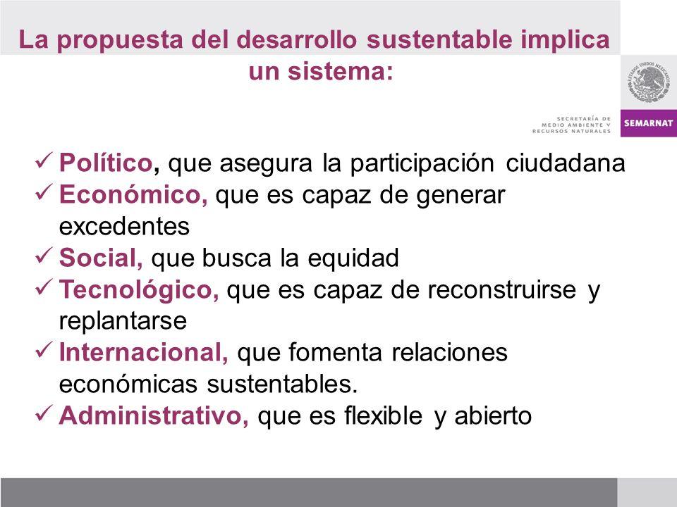 La propuesta del desarrollo sustentable implica un sistema: