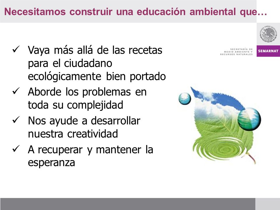 Necesitamos construir una educación ambiental que…