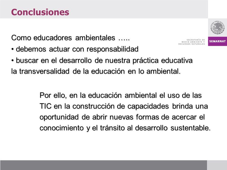 Conclusiones Como educadores ambientales …..