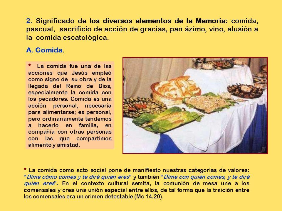 2. Significado de los diversos elementos de la Memoria: comida, pascual, sacrificio de acción de gracias, pan ázimo, vino, alusión a la comida escatológica.