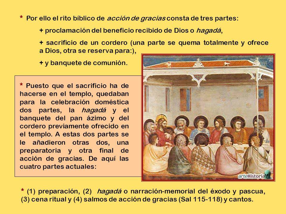 * Por ello el rito bíblico de acción de gracias consta de tres partes: