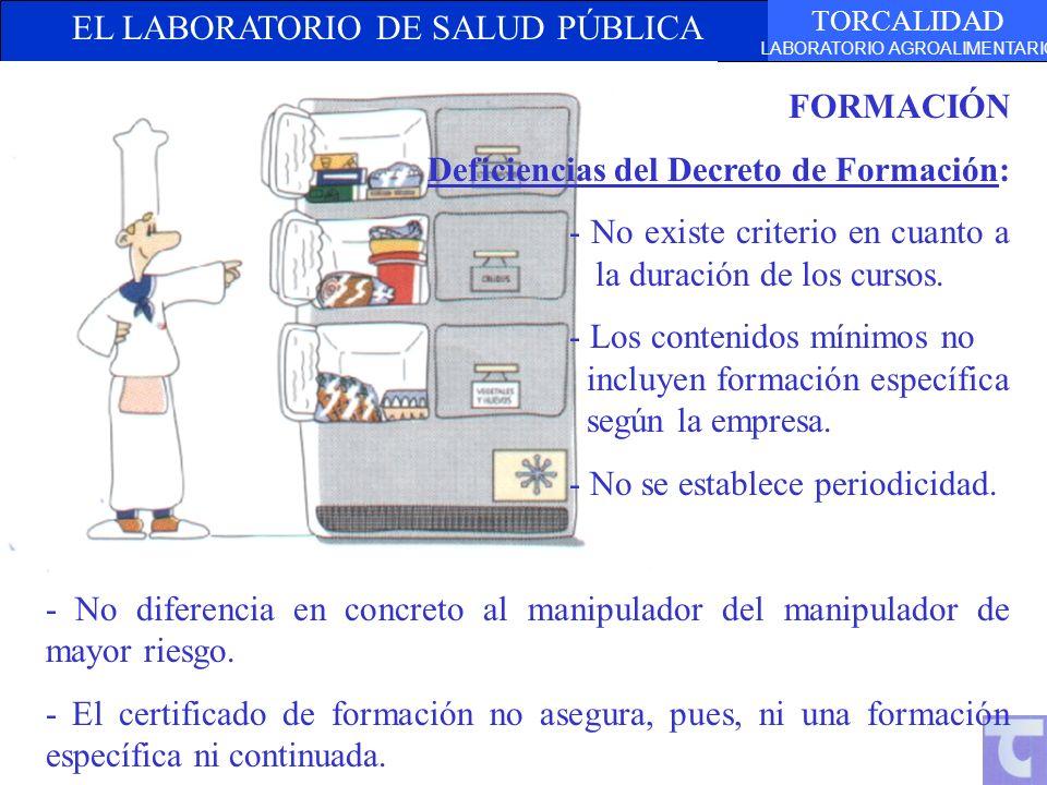 FORMACIÓN Deficiencias del Decreto de Formación: