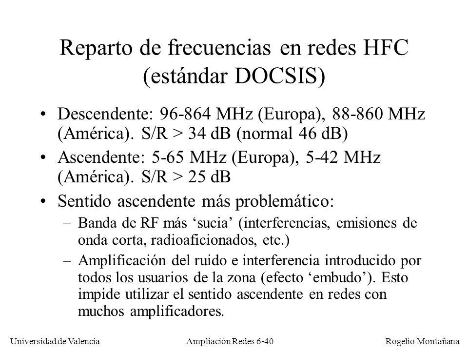 Reparto de frecuencias en redes HFC (estándar DOCSIS)