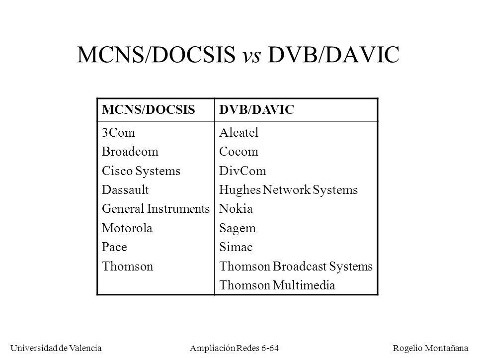 MCNS/DOCSIS vs DVB/DAVIC