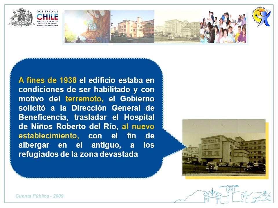 A fines de 1938 el edificio estaba en condiciones de ser habilitado y con motivo del terremoto, el Gobierno solicitó a la Dirección General de Beneficencia, trasladar el Hospital de Niños Roberto del Río, al nuevo establecimiento, con el fin de albergar en el antiguo, a los refugiados de la zona devastada