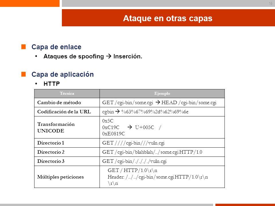 Ataque en otras capas Capa de enlace Capa de aplicación