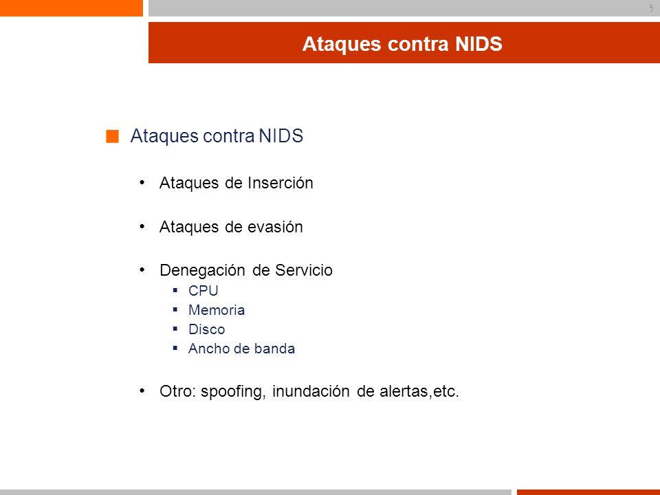 Ataques contra NIDS Ataques contra NIDS Ataques de Inserción