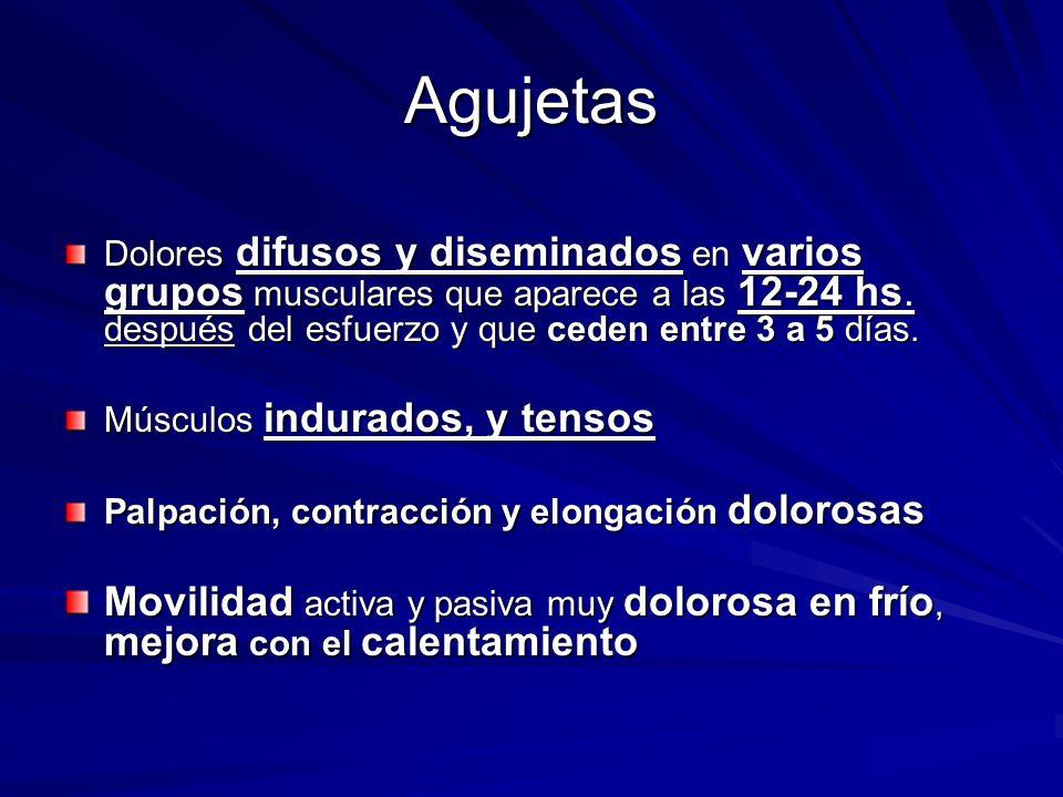 Agujetas Dolores difusos y diseminados en varios grupos musculares que aparece a las 12-24 hs. después del esfuerzo y que ceden entre 3 a 5 días.