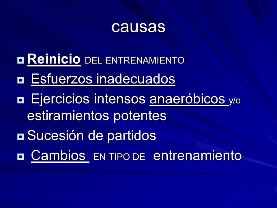 causas Reinicio DEL ENTRENAMIENTO Esfuerzos inadecuados