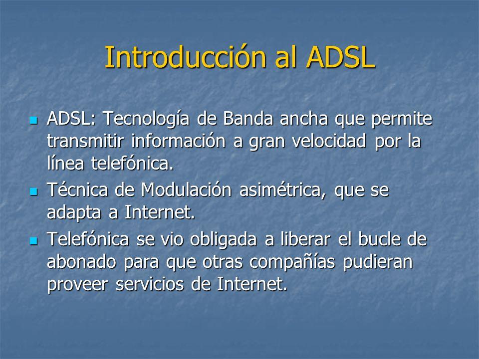 Introducción al ADSL ADSL: Tecnología de Banda ancha que permite transmitir información a gran velocidad por la línea telefónica.
