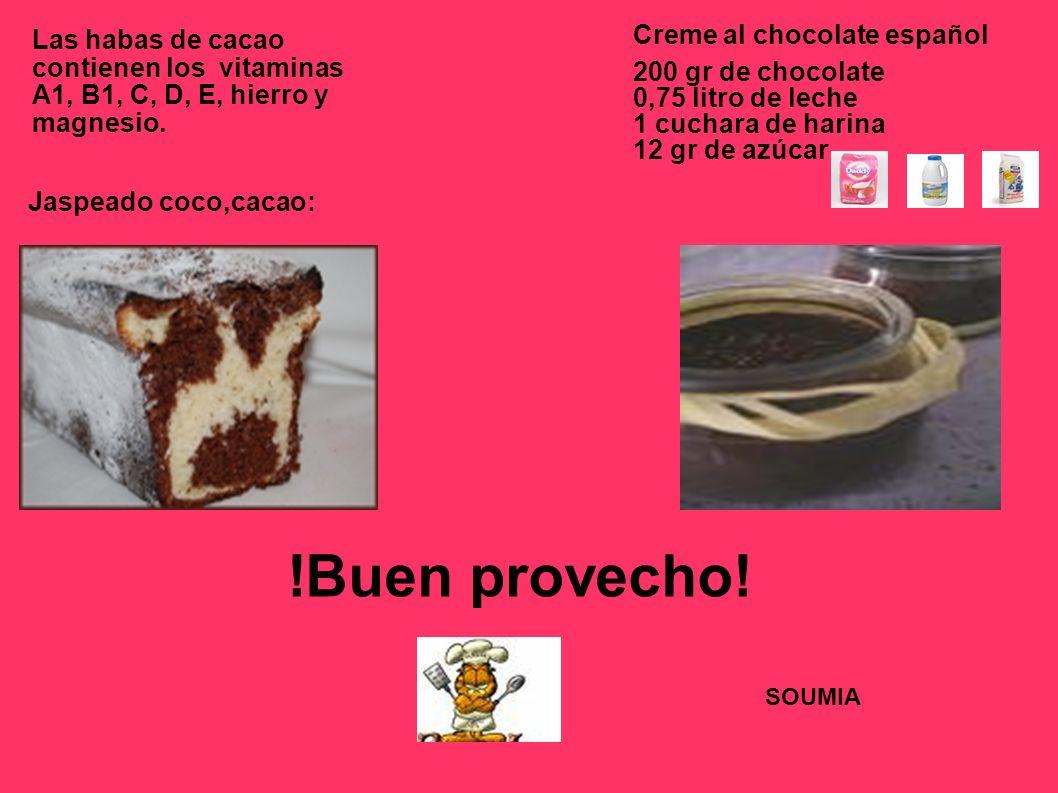 Las habas de cacao contienen los vitaminas A1, B1, C, D, E, hierro y magnesio.