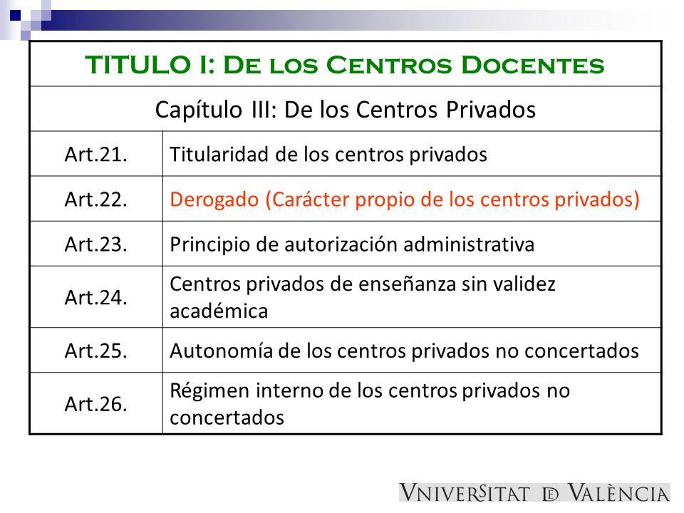TITULO I: De los Centros Docentes